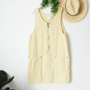 90s Vintage Corduroy Overall Bib Mini Dress Large